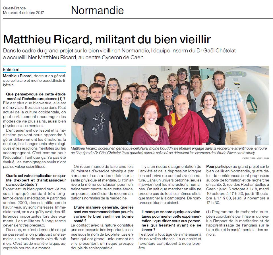 2017_10_04 Article OF_Matthieu Ricard, militant du bien vieillir
